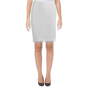 Aqua Brand Ivory Lace Overlay Lined Pencil Skirt